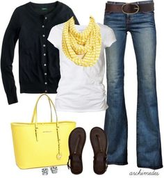 Cute outfit ideas of the week featuring the color yellow. Add a pop of yellow to your outfit by wearing a yellow scarf and handbag. Super cute outfit for running errands or casual day out. Fashion Mode, Look Fashion, Autumn Fashion, Fashion Outfits, Womens Fashion, Fashion Ideas, Workwear Fashion, Fashion Trends, Fashion Blogs