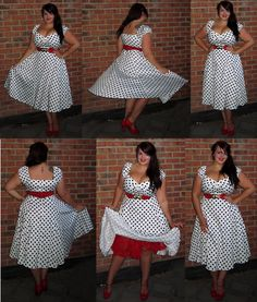 Fuller Figure Fuller Bust Black and White polka-dot dress with red belt and petticoat