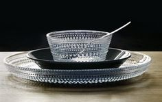 Originally in production from Kastehelmi Dewdrop has been reintroduced by Iittala in clear and apple green. Plates And Bowls, Vintage Pottery, Kitchen Cupboards, Natural Materials, Kitchen Gadgets, Scandinavian Design, Finland, Dinnerware, Table Settings
