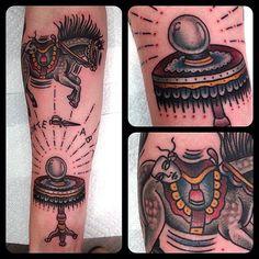 illustratedgentleman:  Levitate a bit #matthouston #crystalball #horse #dagger #levitation #gastowntattoo #tattoo #traditional