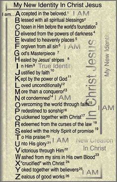 ABC's in Christ. New Identity in Christ Copyright 1990 Dr. Prayer Scriptures, Bible Prayers, Prayer Quotes, Bible Verses Quotes, Bible Study Notebook, Scripture Study, My Identity In Christ, True Identity, Bible College
