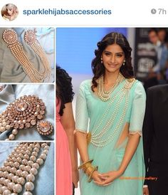 Sonam Kapoor inspired pearl saree belt. Beautiful jewelry by amazing jewelry artist.