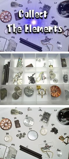 Bring the periodic table to life by creating your own periodic table of elements, using real objects you find in secondhand shops, Wal-Mart, and from broken objects.