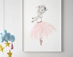 Ballerina wall art, SALE PRINT Girls Room Decor, Pink tutu, Ballerina print, Baby girl nursery wall art,Ballerina art,ballerina Dancer print