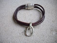 Triple Strand 3mm Distressed Dark Brown 3mm Leather Bracelet with Antique Silver Teardrop Pendant and Silver Magnetic Clasp by DesignsbyPattiLynn on Etsy