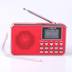 Mfine Portable Speaker AM/FM Radio Music Player Micro SD/TF Card For PC iPod Phone (938B Red)