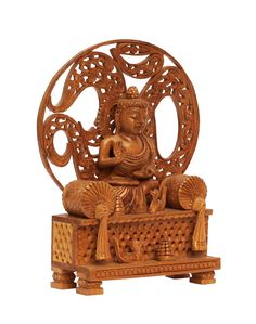 """Bulk Wholesale Hand-Carved 6"""" Statue of 'Sitting Buddha on a Throne' in Eucalyptus Wood Enhanced with Intricate Filigree Work – Antique-Look Décor from India"""