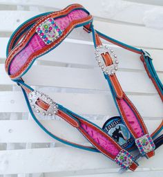 Magics custom tack pink and turquoise sugar skull headstall! www.magicscustomtack.com
