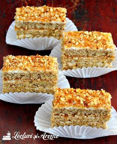 Prajitura Krantz cu nuca si caramel (reteta veche) - Lecturi si Arome Krantz cake - old recipe, inspired by the cookbook of the famous Silvia Jurcovan. Cake with walnut and caramel Sweets Recipes, Easy Desserts, Cookie Recipes, Delicious Desserts, Yummy Food, Romanian Desserts, Romanian Food, Krantz Cake, Just Cakes