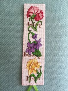 Cross Stitch Bookmark Birth Month Flowers I