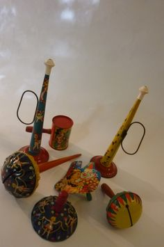 Collection of 7 Lithographed Tin Circus Noisemakers 40's and 50's Toys Made by T.Cohn,  Life of the Party Products, US Metal Toys, Inc. by ZoomVintage on Etsy