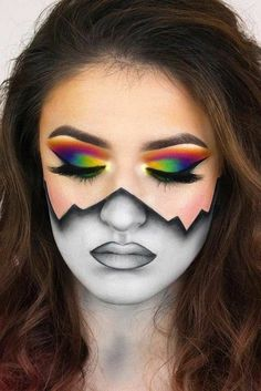 Discovered by ★. Find images and videos about art, black and white and makeup on We Heart It - the app to get lost in what you love. Beautiful Halloween Makeup, Amazing Makeup, Crazy Makeup, Cute Makeup, Simple Makeup, Cheap Makeup, Natural Makeup, Helloween Make Up, Special Effects Makeup