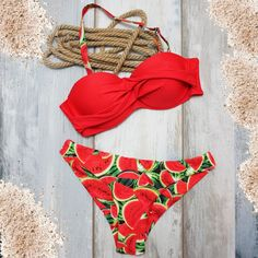 Bikini Con Sandias Frutas Rojo Traje De Baño Sandia Mujer Estampado Melón Agua Trendy Swimwear, Cute Swimsuits, Cute Bikinis, Summer Bikinis, Bikini Swimwear, Tommy Hilfiger Outfit, Cute Bathing Suits, Summer Outfits, Clothes