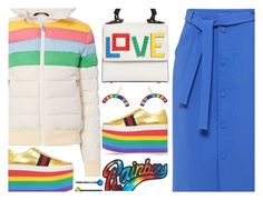 """Rainbow Puffer Jacket"" by rasa-j ❤ liked on Polyvore featuring Les Petits Joueurs, Marc Jacobs, Perfect Moment, Mother of Pearl, Gucci, IaM by Ileana Makri, Cara, Winter, womensFashion and puffers"