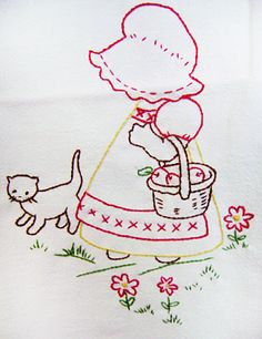 Girl with bonnet and kitty  sunbonnet sue embroidery stitchery