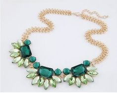FLOWER NECKLACES GREEN FASHION NECKLACE LINK CHAIN CRYSTAL BIG COSTUME JEWELRY BIJOUTERIE COLLAR NECKLACES FOR WOMEN TOPSHOP