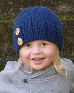Knit Blue Toddler Hat with Two Wooden Buttons - Knit Toddler Hat - Knit Baby Hat. $20.00, via Etsy.