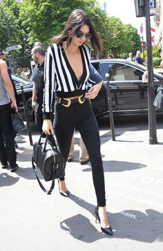 Kendall Jenner arriving at L'Avenue Restaurant in Paris, June 26, 2015.