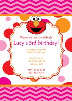 Printable Elmo Birthday Party Invitation. Girly Elmo by cohenlane, $8.00