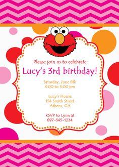 Printable Elmo Birthday Party Invitation. Girly Elmo by cohenlane, $8.00