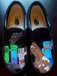 Custom, hand-painted, canvas shoes inspired by your childs favorite Minecraft characters! Please Include a Note to Seller at Checkout: -Pick some Minecraft Mobs youd like featured on the shoes -Your childs name if youd like it included on the shoe -Anything else youd like to include  Options: Canvas will be Faded Glory or Garanimals brand canvas shoes. They will have white, non-marking soles and either tan, grey, or black canvas. Vans will be the actual name brand, direct from Vans. Shoe…