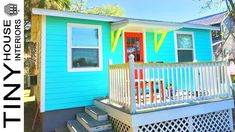 Super süß The St Augustine Tiny House mit 400 sq - Tiny Haus Familie Idee Coastal Colors, Tropical Colors, Small Front Yards, Tiny House Family, Sliding Wall, Interior Work, Ship Lap Walls, The St, Wooden Doors