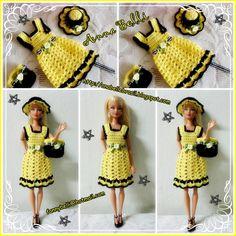Handmade by Anel Lombard - kilo yio Crochet Doll Dress, Crochet Barbie Clothes, Doll Clothes Barbie, Barbie Dress, Knitted Dolls, Barbie Doll, Barbie Knitting Patterns, Barbie Patterns, Doll Clothes Patterns