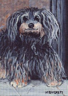ACEO Original Painting Lost Puppy dog pets animals canine scruffy long hair  #Impressionism