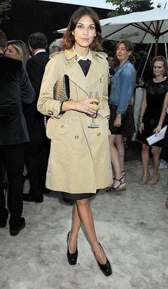 Alexa's notable for mixing the classics with her own signature style elements — this time, a trench with a pair of platform patent pumps — for modern polish