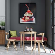 A dark corner brought to life with bright artwork and seating! Modular Wardrobes, Food Painting, Dining Table, Dining Rooms, Green Life, Building Materials, Sustainable Living, Red Green, Eco Friendly