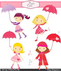 Girls Clip Art Clipart Photography Graphics , Personal & Commercial Use, Miss Poppins 2 , umbrella
