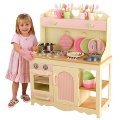 toy kitchen sets delta faucet parts 9 best set images play kitchens toys for i love that it s pink and green kidkraft