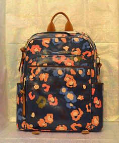 FOSSIL Key Per  108 Dark Turquoise Coated Canvas Backpack Bookbag Bag  ZB5994 NEW 4037cc55f2d