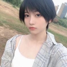 Asian Short Hair, Girl Short Hair, Short Girls, Cute Asian Girls, Cute Girls, Kawaii Faces, Beautiful Japanese Girl, How To Draw Hair, Kawaii Girl