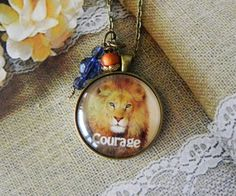 Courage Strength Life Coping Inspirational Pendant Necklace by HoovesHornsWingsPaws