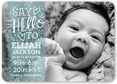 Birth Announcement: Sweetest Greeting Boy, Rounded Corners, Blue