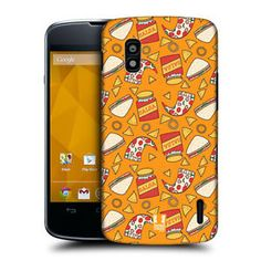 HEAD-CASE-PIZZA-AND-SANDWICH-FAST-FOOD-PATTERN-BACK-CASE-FOR-LG-NEXUS-4-E960 Food Patterns, Sandwiches, Pizza, Phone Cases, Eating Habits, Paninis, Phone Case