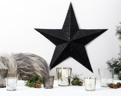 Christmas Decoration Glass Star Tealight Holder, Large, Black in Christmas Gifts and Decorations - £12.00 | India May Home, Luxury Homeware