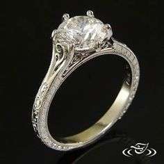 Platinum Antique Split Filigree Ring-this is getting close to perfect! Would want to make sure a wedding band would sit flush against it and if not raise the cathedral setting to accommodate wedding band
