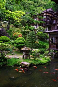 I like the Japanese style garden along with the koi pond. Although I would have stepping stone across the pond so that I could walk across.