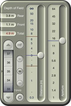 TrueDoF calculator. Allows you to calculate depth of field based on your lens focal length, aperture used, and distance from your subject.