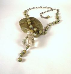 Olive-Beaded Vintage Pendulum Necklace made from a 1920's glass knob   @ShopMichL $18.99