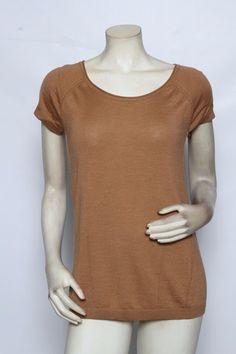Rondina Designer Solid Toffee Brown Short Sleeve Top Shirt Sz M L Xl $125 Nwt