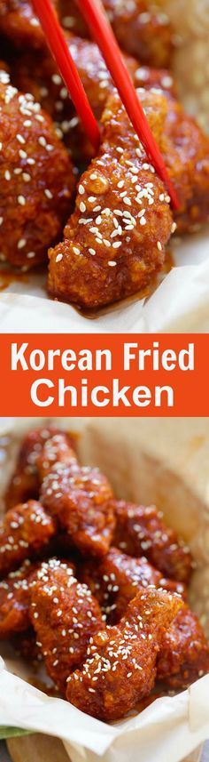 Fried Chicken (Crispy and BEST Recipe!) - Rasa Malaysia Korean Fried Chicken – the BEST Korean fried chicken recipe that yields crispy fried chicken in spicy, savory and sweet sauce. Korean Fried Chicken, Crispy Fried Chicken, Fried Chicken Recipes, Cooked Chicken, Chicken Meals, Korean Chicken Sauce Recipe, Korean Chicken Wings, Crispy Chicken Wings, Roast Chicken