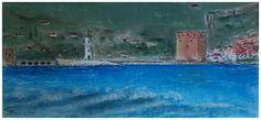 De rode toren van Alanya - soft pastel op papier
