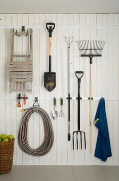 Use a simple storage unit to hold and organise garden tools and gardening essentials so that everything is easily accessible organisation uk Elfa Starter Pack - Shed Organiser 1 - Elfa Garage & Workshop Storage Garden Tool Storage, Shed Storage, Garden Tools, Storage Ideas, Garden Sheds, Garden Shed Interiors, Stair Storage, Garage Organisation, Organization Hacks