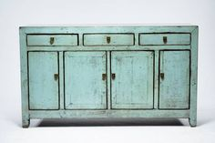 Antique Chinese Pale Celadon Buffet with Three Drawers and Four Lower Cabinet Doors