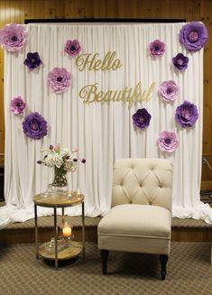The Chic Technique: Bridal shower decor, special event decor, purple bridal shower, paper flower backdrop Party Kulissen, Shower Party, Ideas Party, 50th Party, Paper Flower Backdrop, Paper Flowers, Faux Flowers, Bridal Shower Decorations, Wedding Decorations
