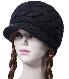 bb25f25feaa Loritta Womens Winter Warm Knitted Hats Slouchy Wool Beanie Hat Cap With  Visor Material  The winter knitted beanie hat made of premium quality  stretchy
