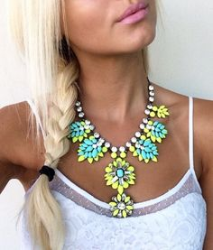white, lime green, and turquoise colored tribal style accessories